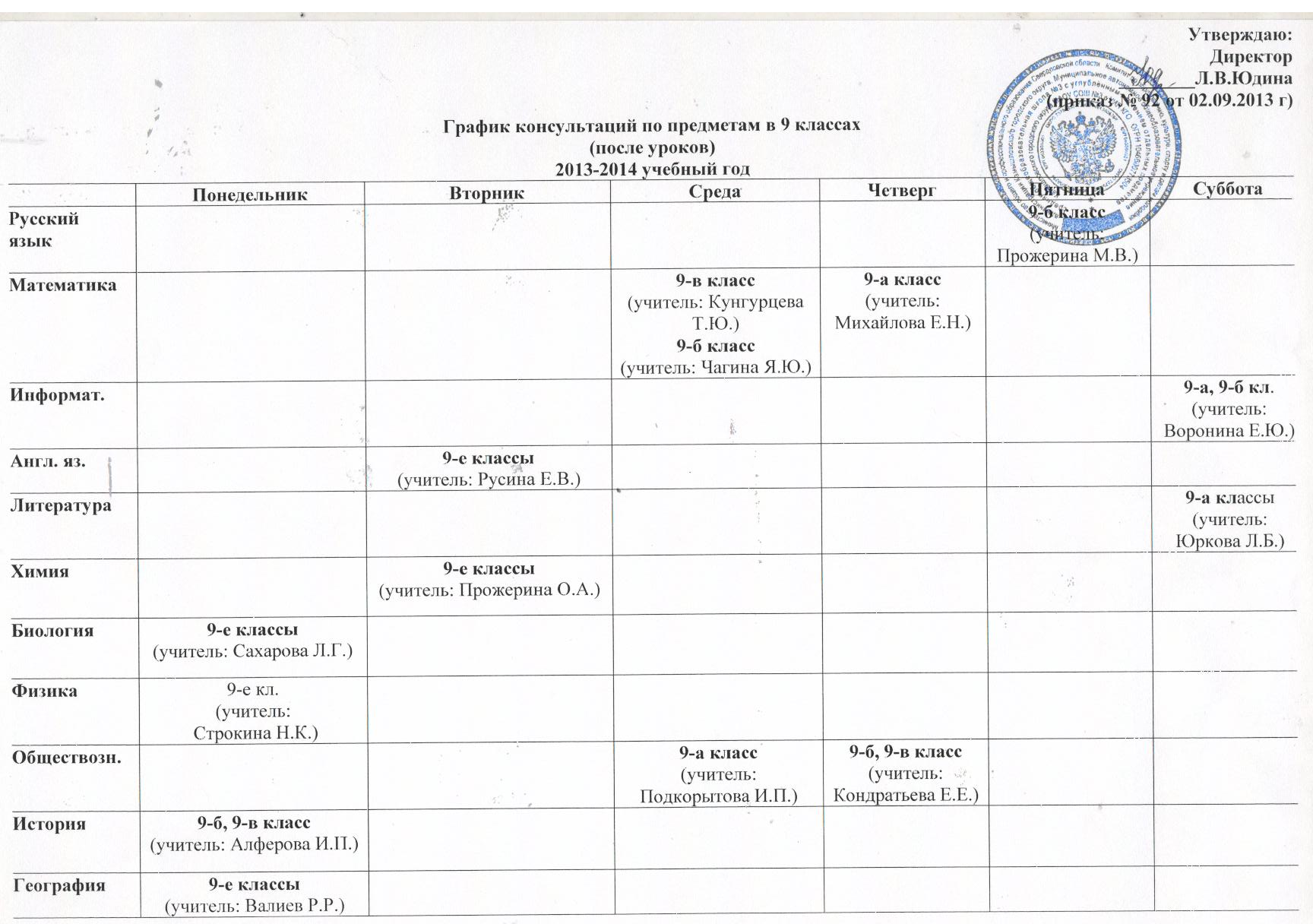 график экзаменов: